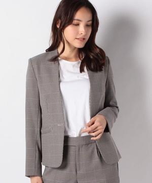 【セットアップ対応商品】フェイクフランネル(チェック)カラーレスジャケット