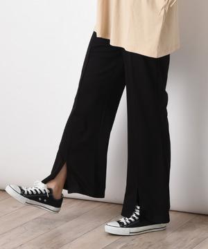 麻調カットソー裾スリットフレアーパンツ