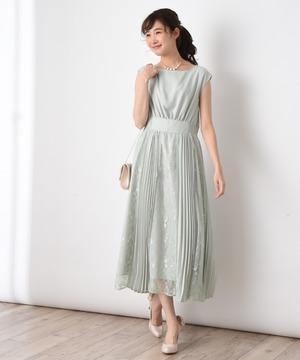 【WEB限定】レース*パネルプリーツ切替ドレス