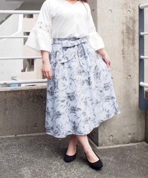 麻調モノクロフラワープリントスカート