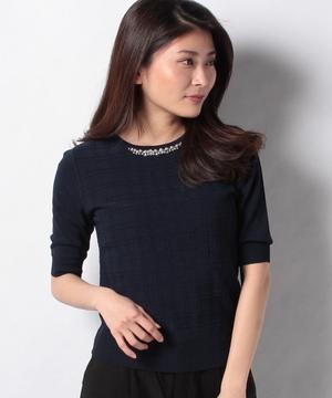 衿装飾5分袖チェック地柄プルオーバー