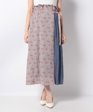 フラワープリント配色スカート