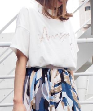 刺繍ロゴT