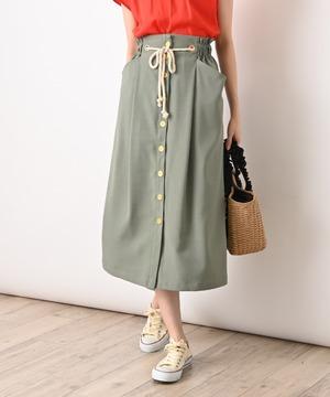 麻調合繊前ボタンタイトスカート