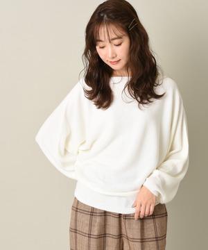 【WEB限定】カシミヤタッチ畦編みドルマンプルオーバー