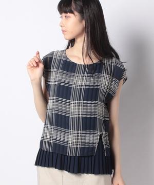 シアーチェック裾配色プリーツブラウス
