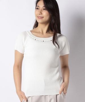 リブ衿装飾半袖プルオーバー