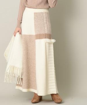 【セットアップ対応商品】パッチワークロングスカート