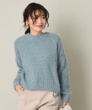 バスケット編みクルーネックプルオーバー