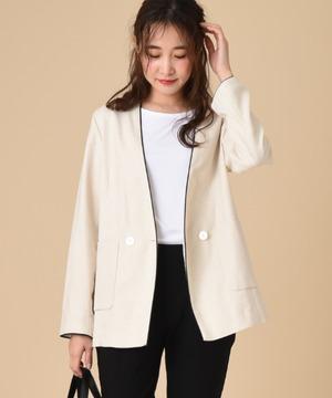 【セットアップ対応商品】エコリネンパイピングデザインカラーレスジャケット