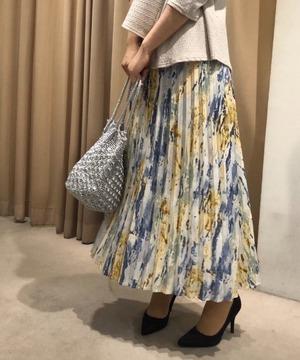 カスレ柄プリーツスカート