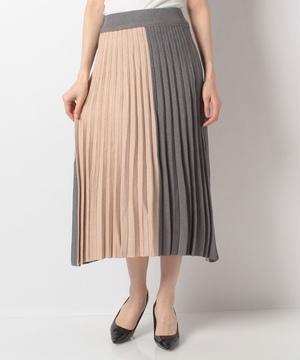 配色プリーツニットスカート