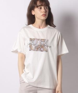 刺繍ロゴ*ストゥレイタムプリントドライタッチコットンTシャツ