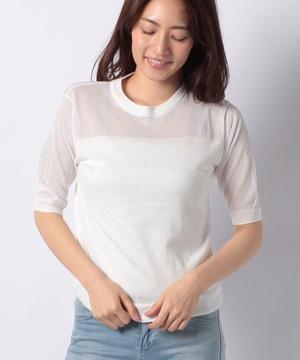 【EN】綿混天竺シースルーニット