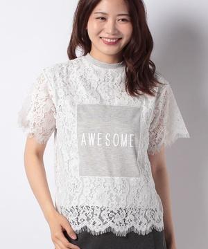 【&g】レース×プリントTシャツ