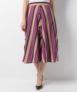【MD】麻調合繊MIXストライプスカート