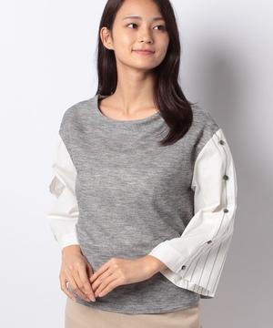 【TV】フェイクシャツ袖ボトルネックプルオーバー