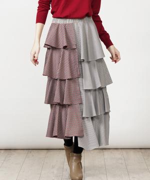 【doll up oops】3WAYチェックパッチワークティアードスカート
