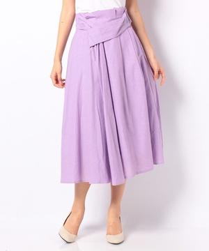 【RAW FUDGE】リネン混カラーフレアスカート