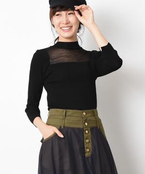 【Titilate Valet】シアー切替8分袖プルオーバー