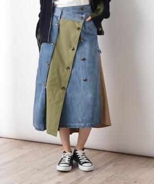 【TEVALT】フロント2WAY配色デニムスカート