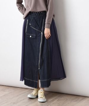 【doll up oops】サイドプリーツデニムライダーススカート
