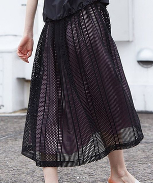【RAW FUDGE】メッシュレース配色スカート