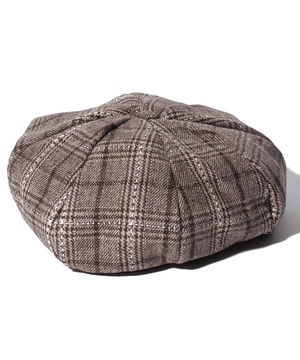 グレンチェックベレー帽