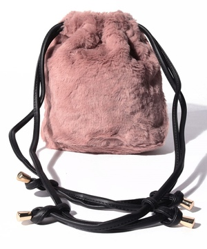 フェイクファー巾着バッグ