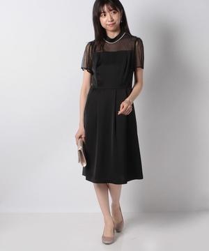 衿パール付ドットチュール*サテンドレス