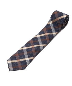 Orobianco Tie(アズーロ・エ・マローネ・ネップ糸チェック)