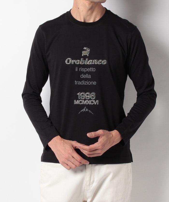 ロゴ刺繍天竺長袖Tシャツ