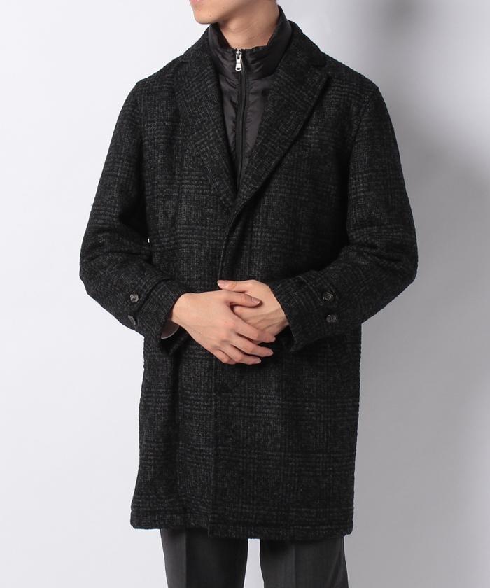 風よけ付中綿ハーフコート