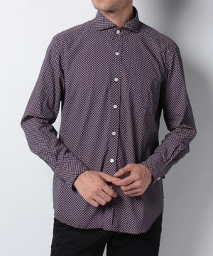 小紋柄プリント長袖シャツ