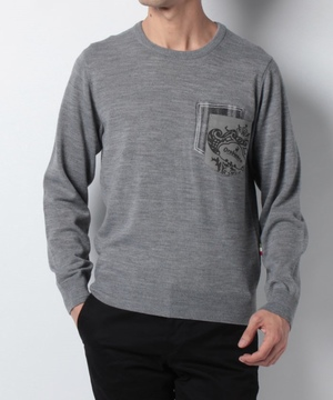 ニードルチェックポケットクルーセーター