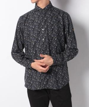 メランジリーフ柄プリント微起毛長袖シャツ