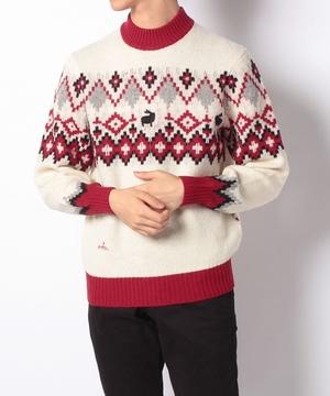ノルディック柄ハイネックセーター