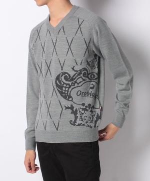 コロナロゴジャガードVネックセーター