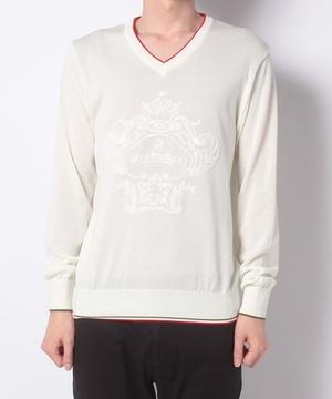 スパンコールロゴVセーター