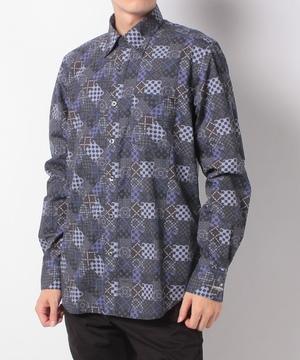 パターン柄プリントボタンダウン衿シャツ