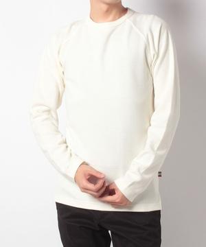 変形ハニカムニット長袖Tシャツ