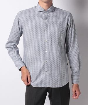 ドビーチェックホリゾタル衿シャツ