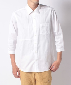 ジャガード切替八分袖シャツ