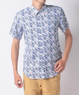 麻フラミンゴ/花柄ボタンダウン半袖シャツ