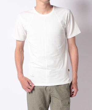 変形リブ切替半袖Tシャツ