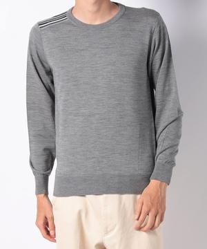 カラフルライン肩章蓄熱素材セーター