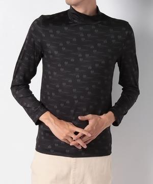 ロゴ総柄プリントハイネック長袖Tシャツ