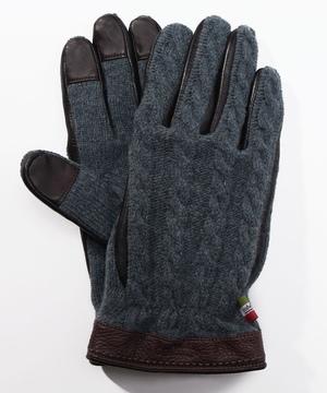 タッチパネル対応レザーコンビケーブル編みニット手袋