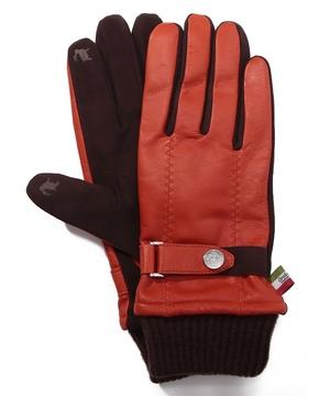 タッチパネル対応羊革ベルト&ニットカフス付き革手袋