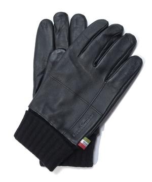 タッチパネル対応シープレザー立体裁断ニットカフス付き革手袋
